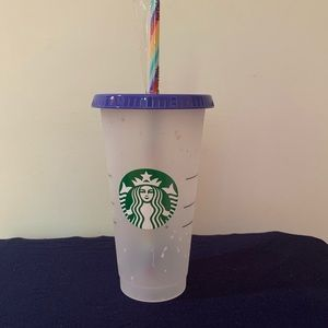 Starbucks color changing confetti cup.